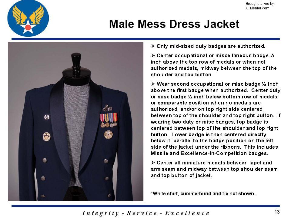 mess dress wear guidance